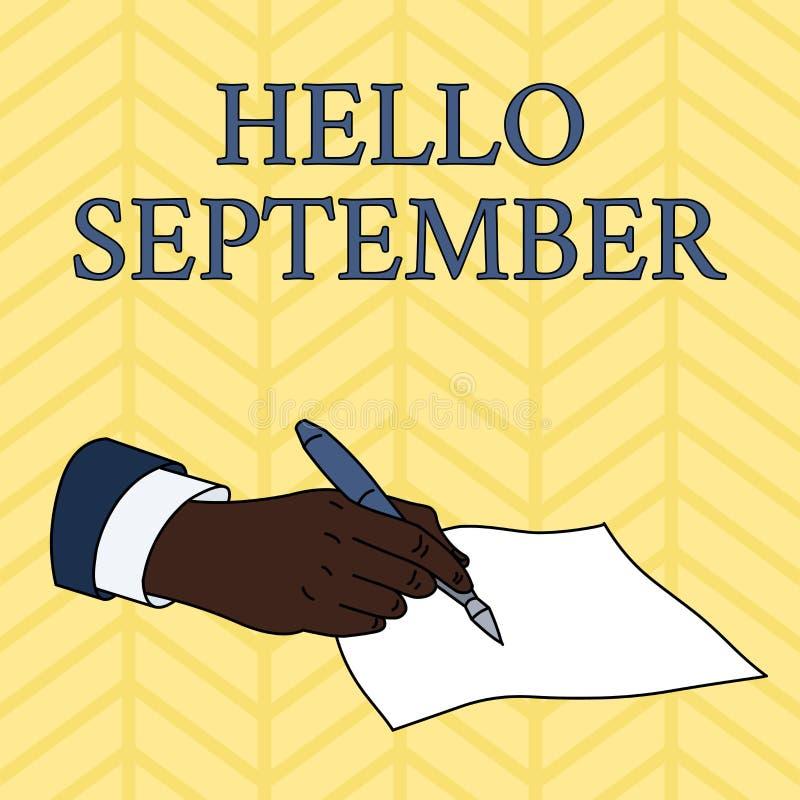 Texto hola septiembre de la escritura de la palabra Concepto del negocio para con impaciencia querer una cálida bienvenida al mes libre illustration