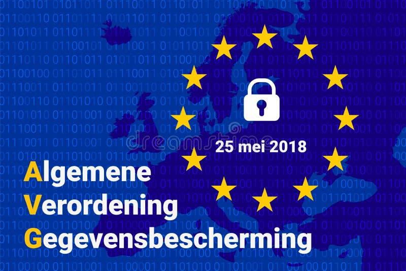 Texto holandês de AVG, tradução inglesa - GDPR - regulamento geral da proteção de dados Vetor ilustração stock