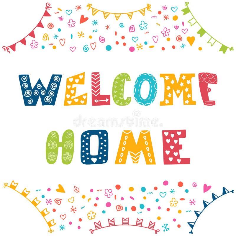 Texto home bem-vindo com elementos coloridos do projeto ilustração stock