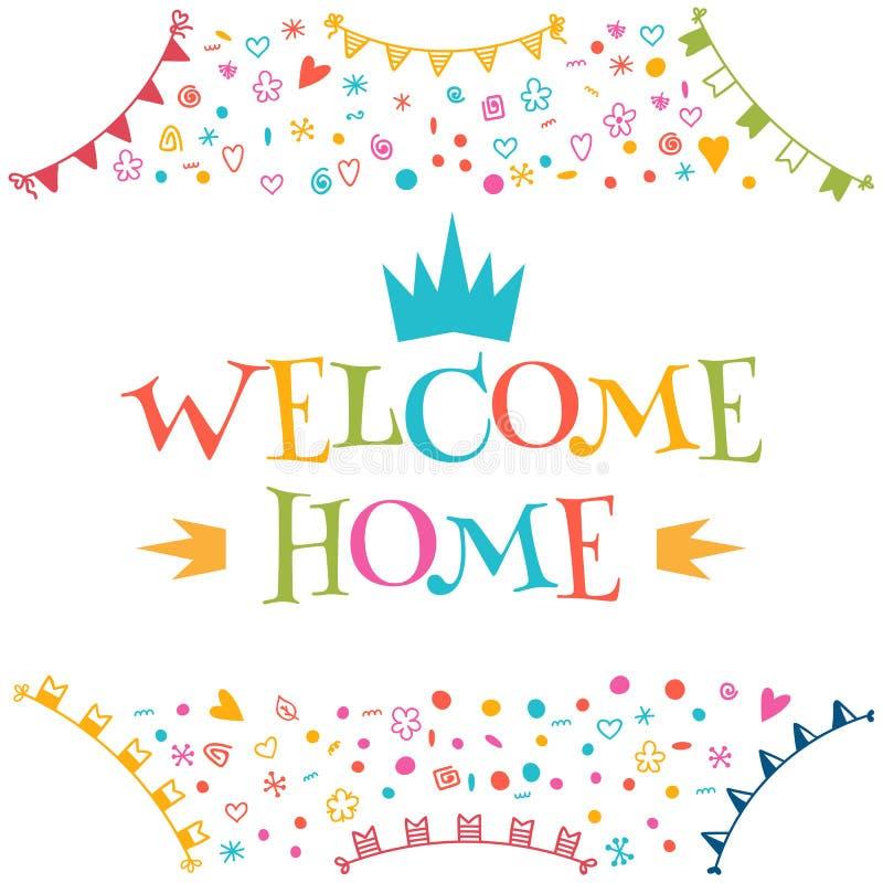 Texto home bem-vindo com elementos coloridos do projeto ano novo feliz 2007 ilustração royalty free