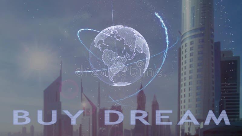 Texto ideal de la compra con el holograma 3d de la tierra del planeta contra el contexto de la metr?poli moderna ilustración del vector