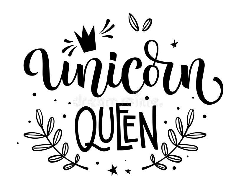 Texto isolado moderm tirado mão da caligrafia de Unicorn Queen com elementos florais, estrelas, decoração do crawn ilustração do vetor