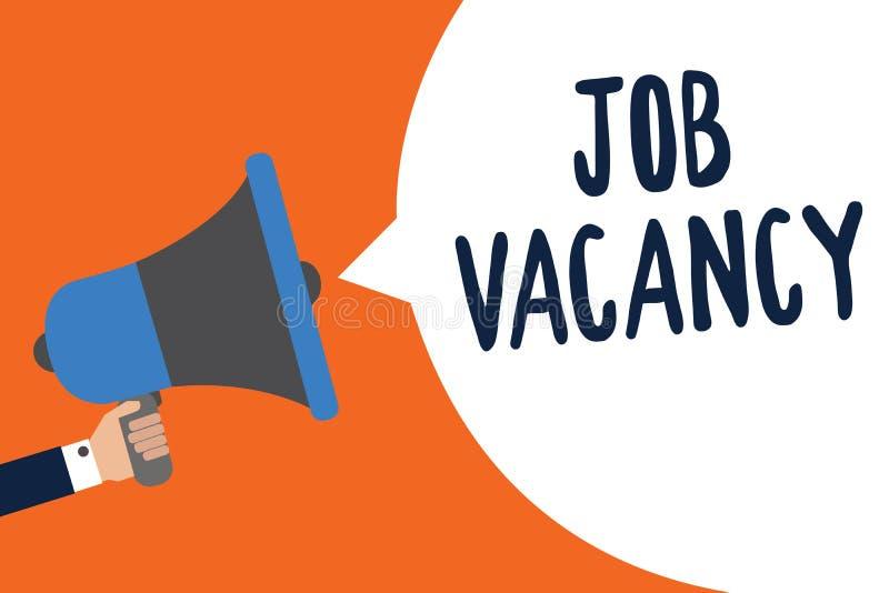 Texto Job Vacancy da escrita Conceito que significa o lugar pago vazio ou disponível no homem de empresa pequeno ou grande que gu ilustração royalty free