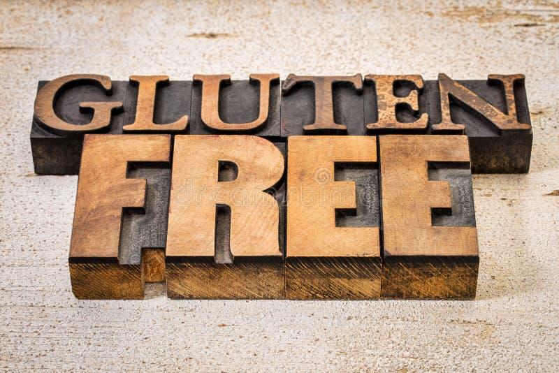 Texto libre del gluten en tipo de madera de la prensa de copiar foto de archivo libre de regalías