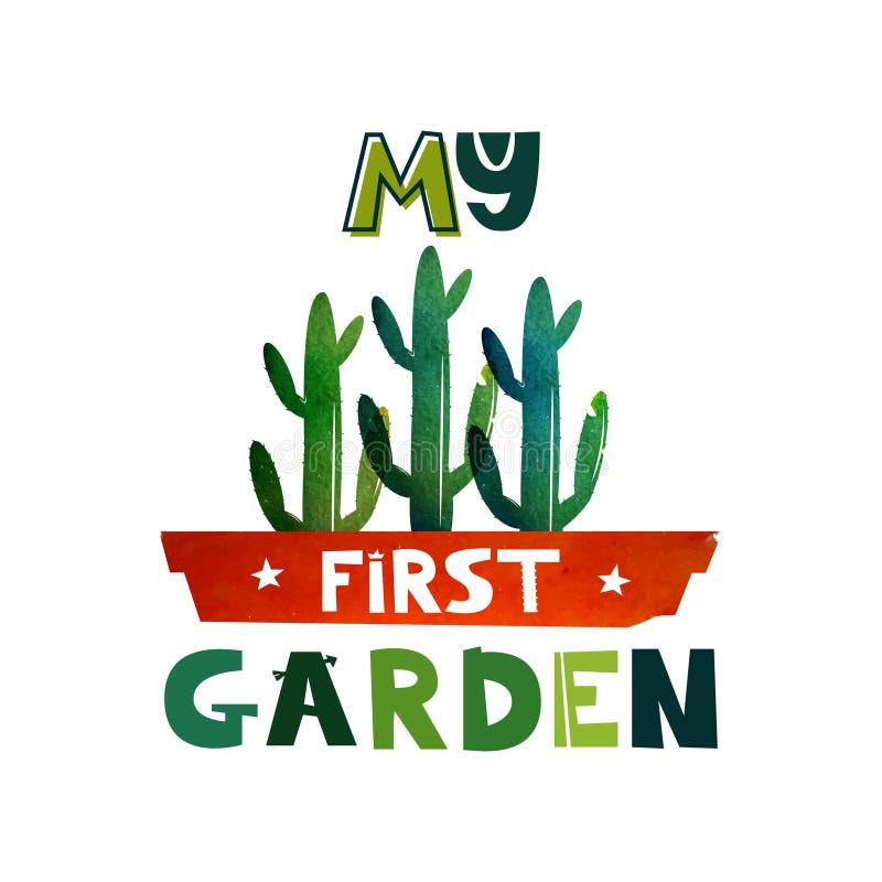 Texto lindo de las letras mi primer jardín Ejemplo de libro de los niños s Cactus en un pote Fondo de la acuarela Vector stock de ilustración