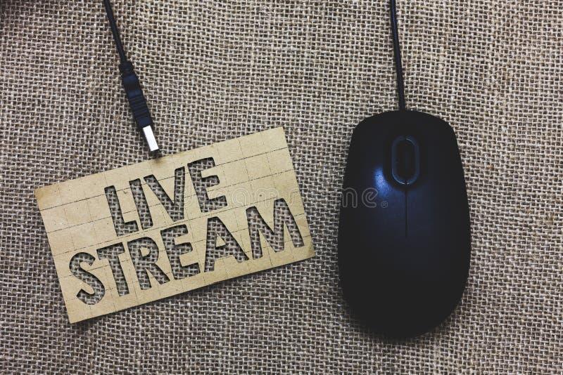 Texto Live Stream da escrita da palavra O conceito do negócio para transmite ou recebe a cobertura video e audio sobre o computad fotografia de stock royalty free