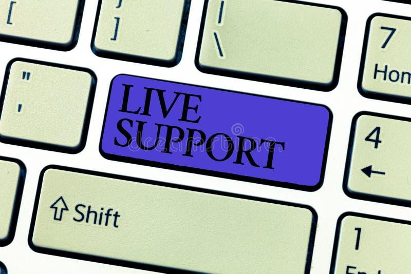 Texto Live Support de la escritura de la palabra Concepto del negocio para el servicio web que permite que los visitantes comuniq foto de archivo