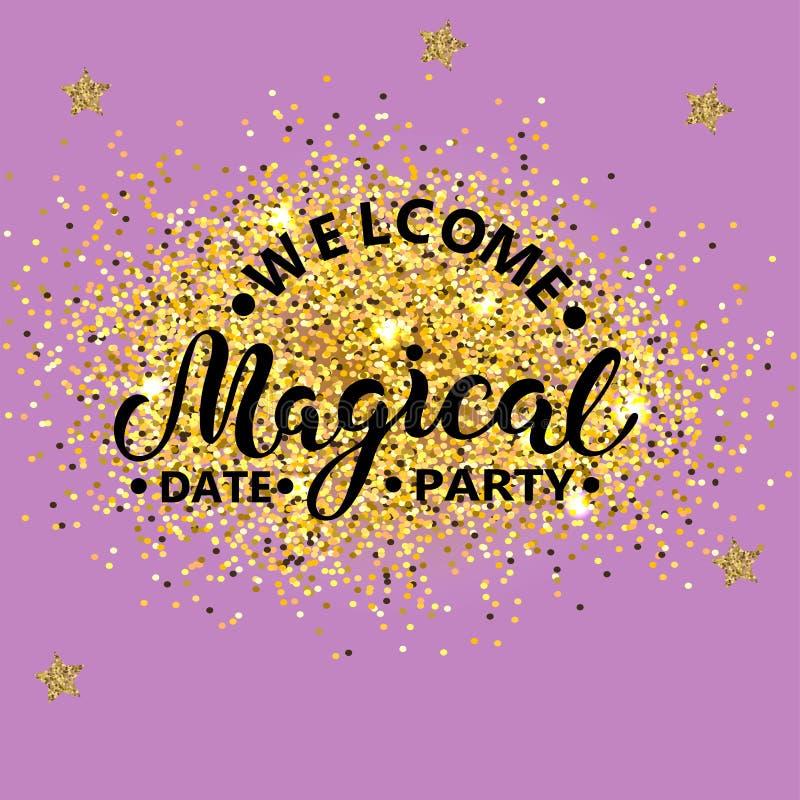 Texto mágico bem-vindo do partido isolado no fundo com confetes dourados ilustração do vetor