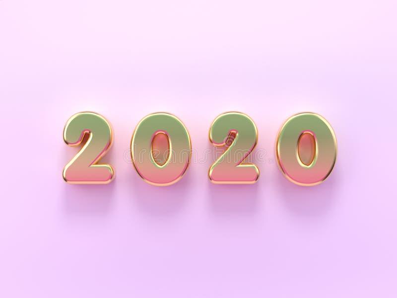 texto mínimo cor-de-rosa pastel/tipo do número da cena 2020 da configuração lisa da rendição 3d ilustração royalty free