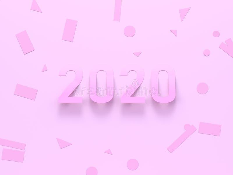 Texto mínimo de papel cor-de-rosa pastel do número da cena 2020 da configuração lisa/tipo rendição de 3d ilustração stock