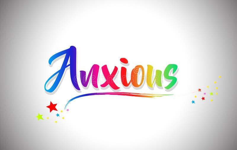 Texto manuscrito ansioso de la palabra con colores del arco iris y Swoosh vibrante libre illustration