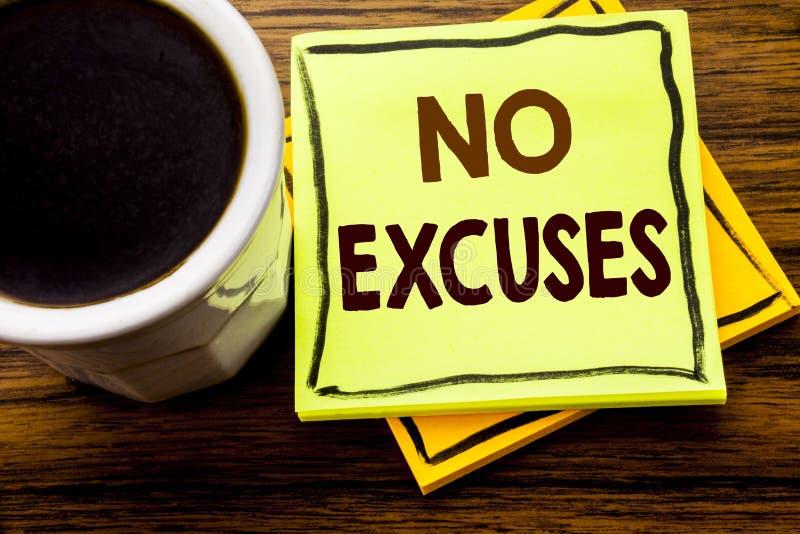 Texto manuscrito que no muestra ninguna excusa Concepto del negocio para la prohibición de la parada para la excusa escrita en el foto de archivo
