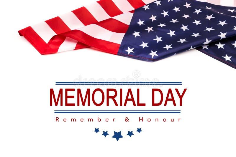 Texto Memorial Day en fondo de la bandera americana imagenes de archivo