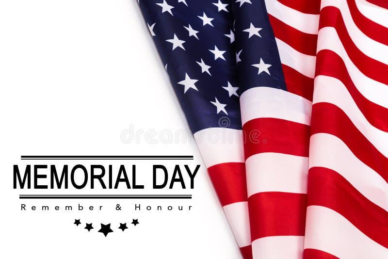 Texto Memorial Day en fondo de la bandera americana imagen de archivo