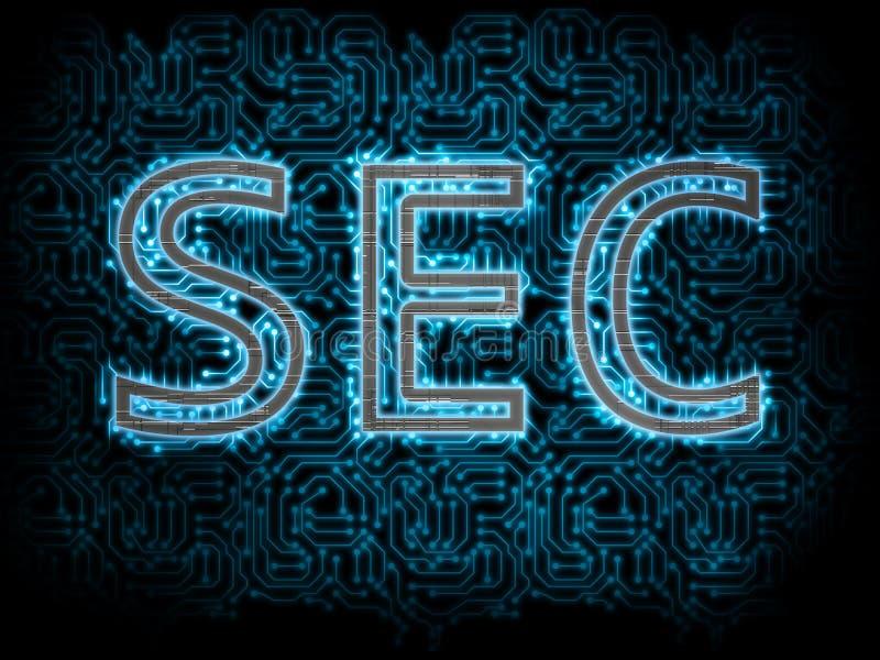 Texto metálico do segundo Security Exchange Commission com interior conduzido de incandescência azul da placa de circuito no fund ilustração royalty free