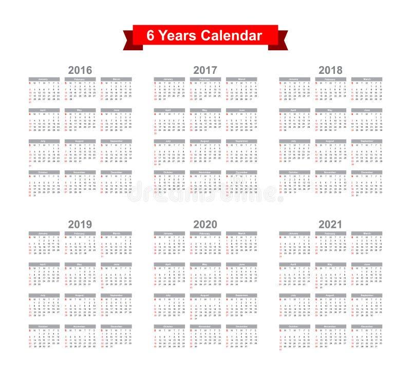 2016 - Texto negro de 2021 calendarios en un fondo blanco stock de ilustración