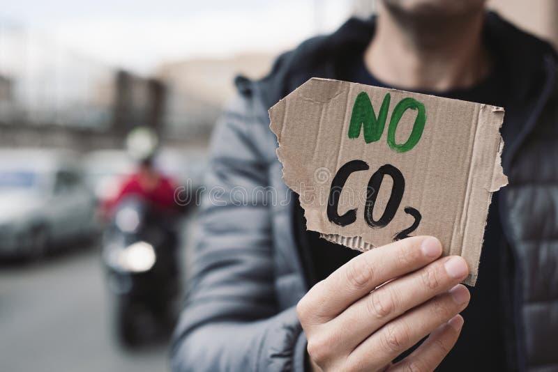 Texto nenhum CO2 em um quadro indicador do cartão fotografia de stock royalty free