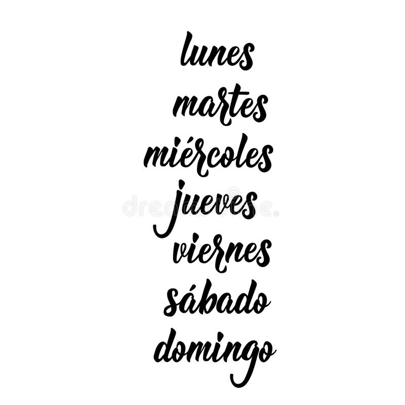 Texto no espanhol: Segunda-feira, terça-feira, quarta-feira, quinta-feira, sexta-feira, sábado, domingo lettering Ilustração do v ilustração royalty free