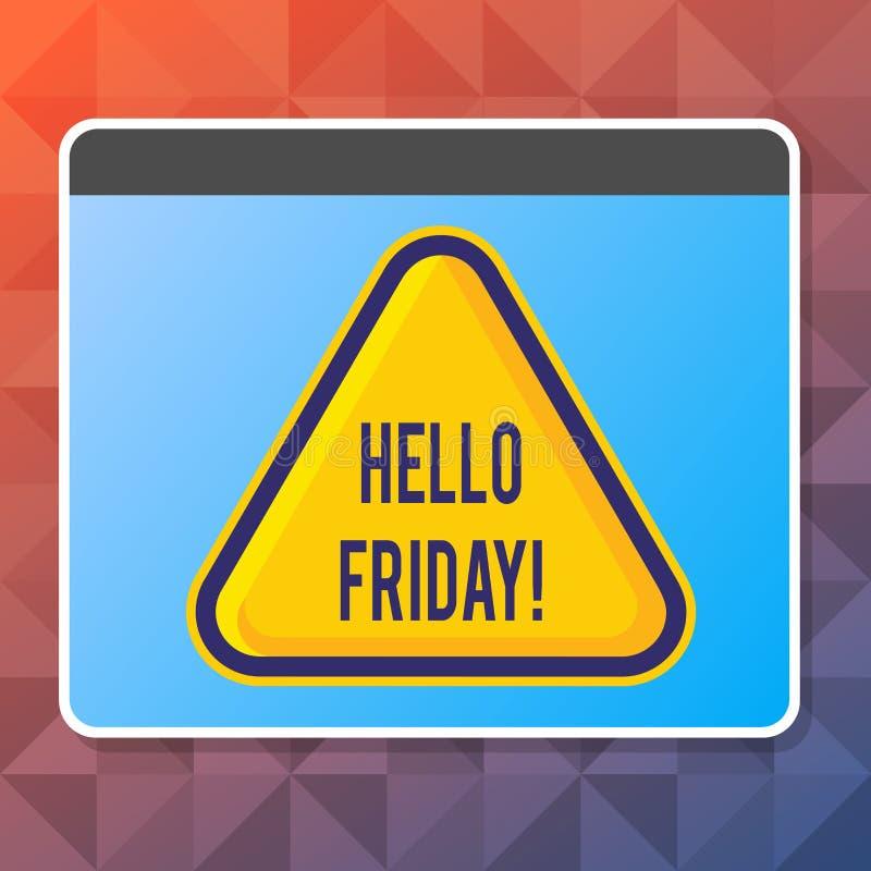 Texto olá! sexta-feira da escrita Significado do conceito usado para expressar a felicidade do começo do amarelo fresco da placa  ilustração stock