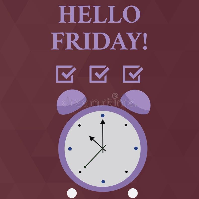Texto olá! sexta-feira da escrita Significado do conceito usado para expressar a felicidade do começo do círculo colorido da sema ilustração royalty free