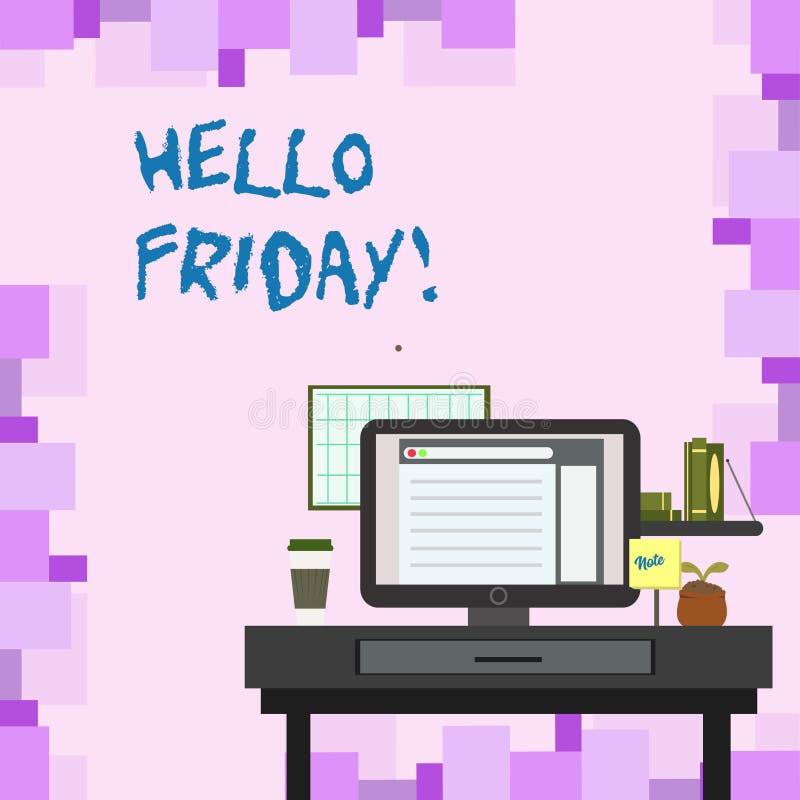 Texto olá! sexta-feira da escrita Significado do conceito usado para expressar a felicidade do começo da foto fresca da semana do ilustração do vetor