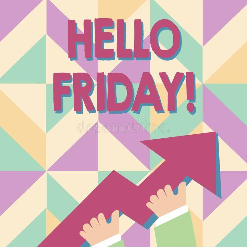 Texto ol?! sexta-feira da escrita Significado do conceito usado para expressar a felicidade do começo da foto fresca da semana da ilustração royalty free