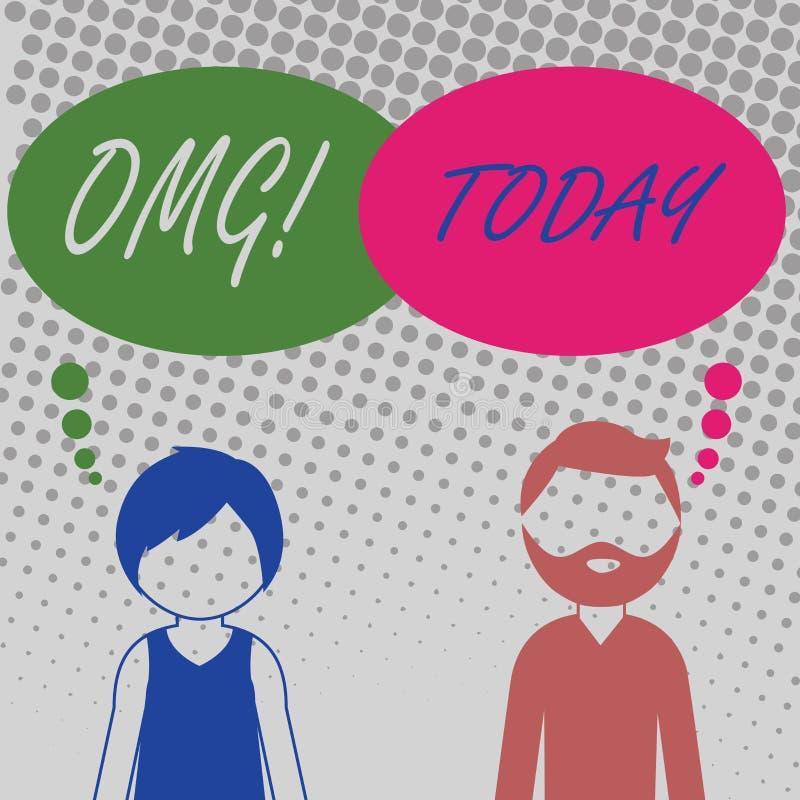 Texto Omg de la escritura Significado del concepto oh mi hombre barbudo y mujer de la buena de la abreviatura expresión moderna d stock de ilustración