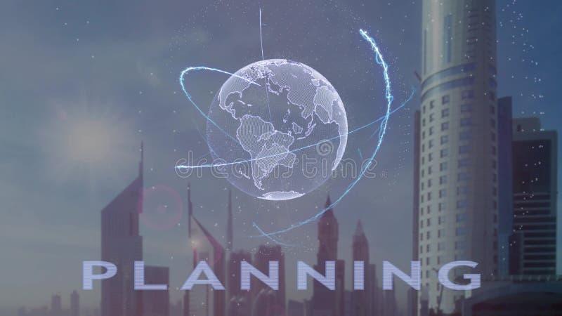 Texto planejando com holograma 3d da terra do planeta contra o contexto da metr?pole moderna fotografia de stock