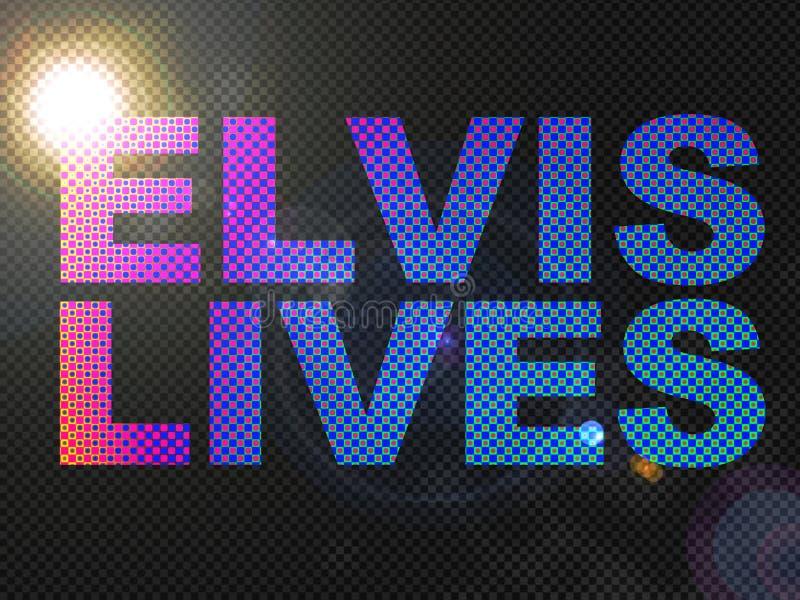 Texto pontilhado do sinal das vidas de Elvis das luzes ilustração stock