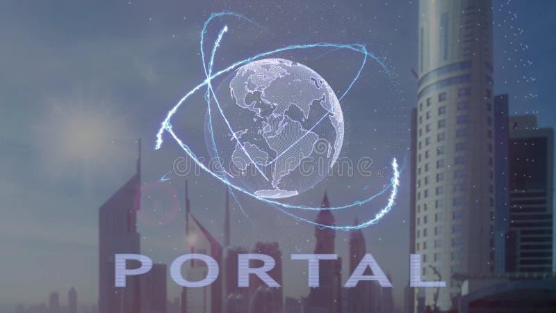 Texto portal com holograma 3d da terra do planeta contra o contexto da metr?pole moderna foto de stock