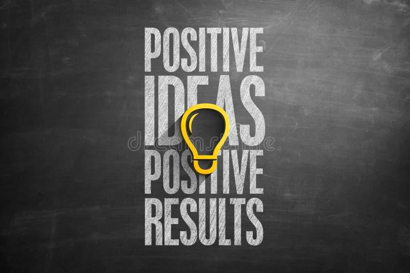 Texto positivo dos resultados positivos das ideias no quadro-negro imagem de stock