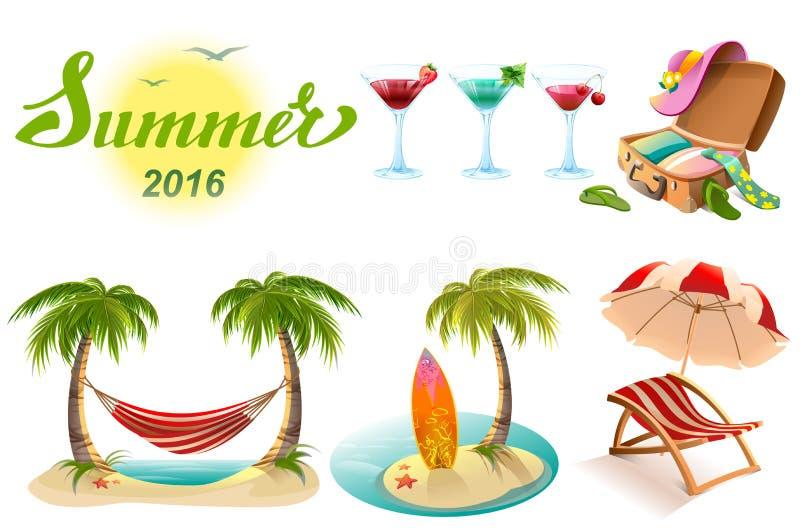 Texto que pone letras del verano 2016 Sistema del símbolo de los objetos de las vacaciones de verano libre illustration