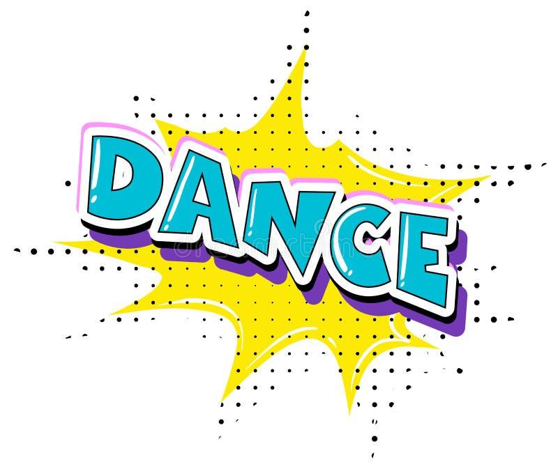 Texto retro de la danza de la diversión ilustración del vector