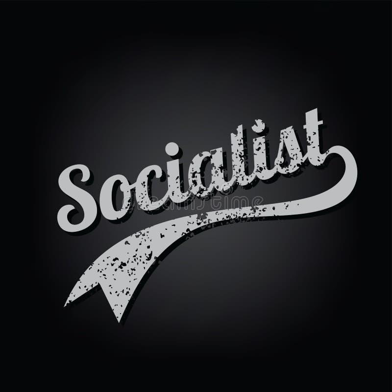 texto retro sucio socialista del tema del equipo universitario del ateísmo stock de ilustración