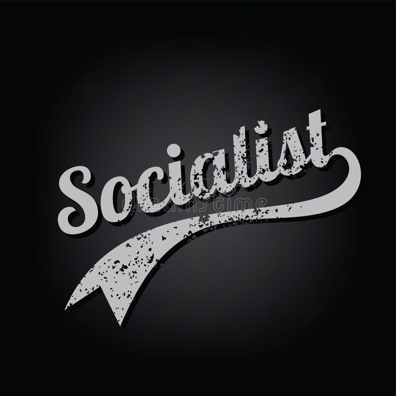 texto retro sujo socialista do tema do time do colégio do ateísmo ilustração stock