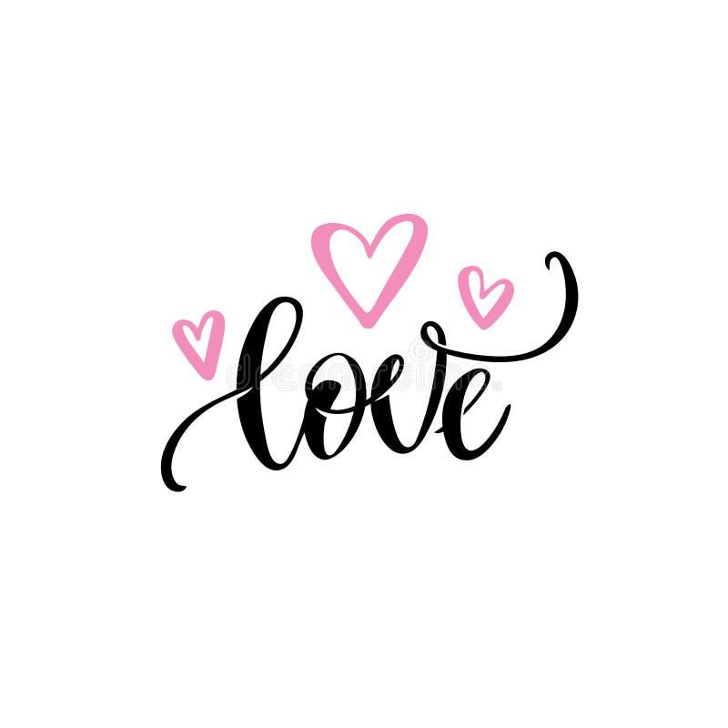 Texto romântico do amor, rotulação caligráfica da mão do vetor cor-de-rosa dos corações Molde do projeto de cartão do casamento d ilustração do vetor