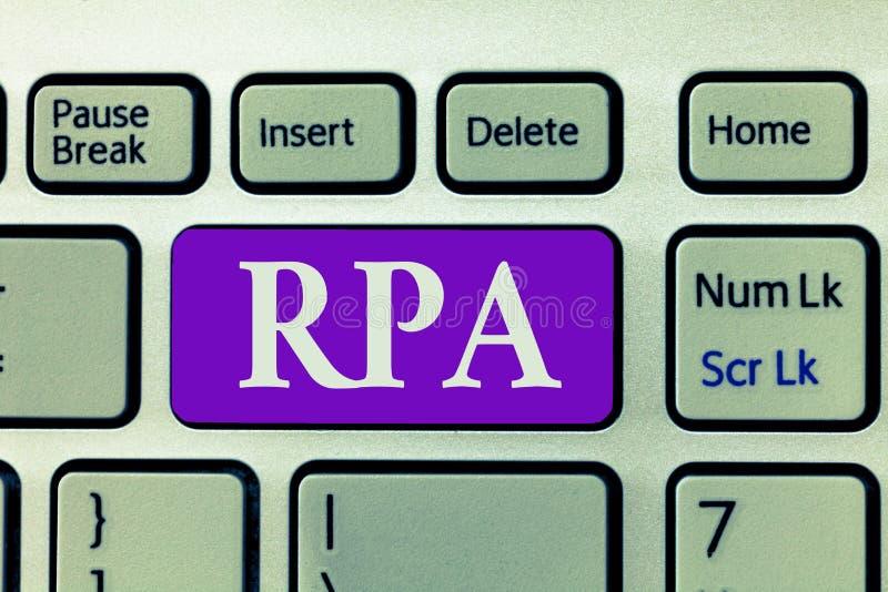 Texto Rpa de la escritura de la palabra Concepto del negocio para el uso del software con inteligencia artificial de hacer tarea  imagenes de archivo