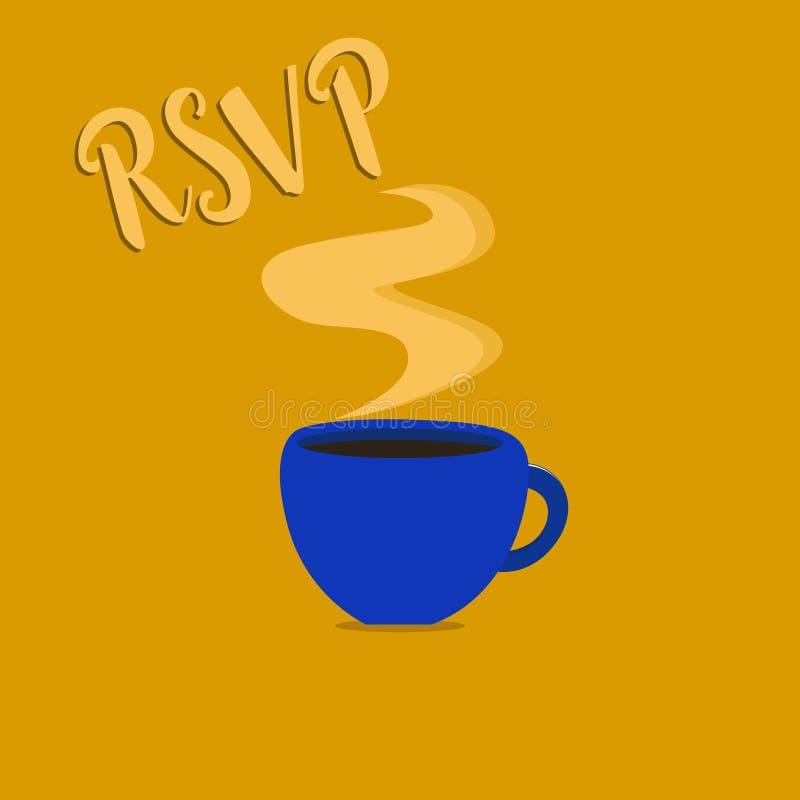 Texto RSVP de la escritura El concepto que significa por favor contesta a una invitación que indica si una planea asistir libre illustration