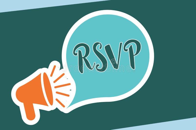 Texto RSVP de la escritura de la palabra El concepto del negocio para por favor contesta a una invitación que indica si una plane ilustración del vector