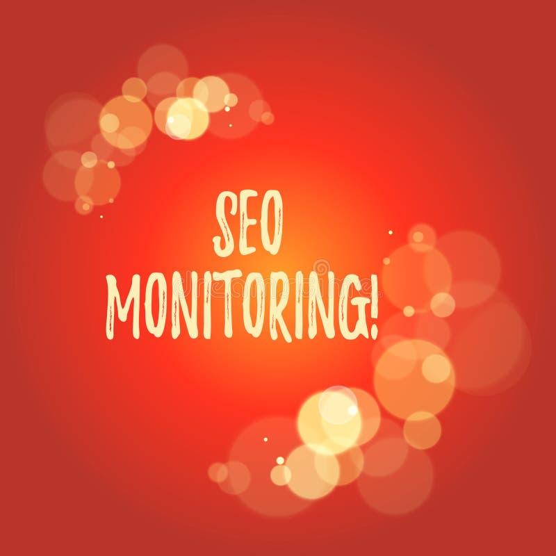 Texto Seo Monitoring de la escritura de la palabra Concepto del negocio para el proceso de optimizar la visibilidad de su página  libre illustration