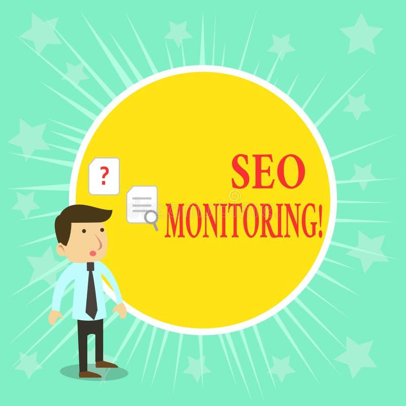 Texto Seo Monitoring de la escritura de la palabra Concepto del negocio para el proceso de optimizar la visibilidad de su p?gina  stock de ilustración