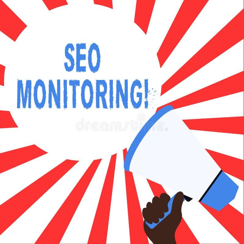 Texto Seo Monitoring de la escritura de la palabra Concepto del negocio para el proceso de optimizar la visibilidad de su p?gina  ilustración del vector