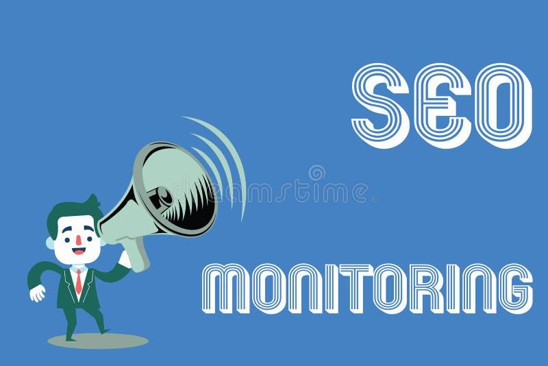 Texto Seo Monitoring de la escritura de la palabra Concepto del negocio para seguir el progreso de la estrategia hecho en la plat fotografía de archivo libre de regalías