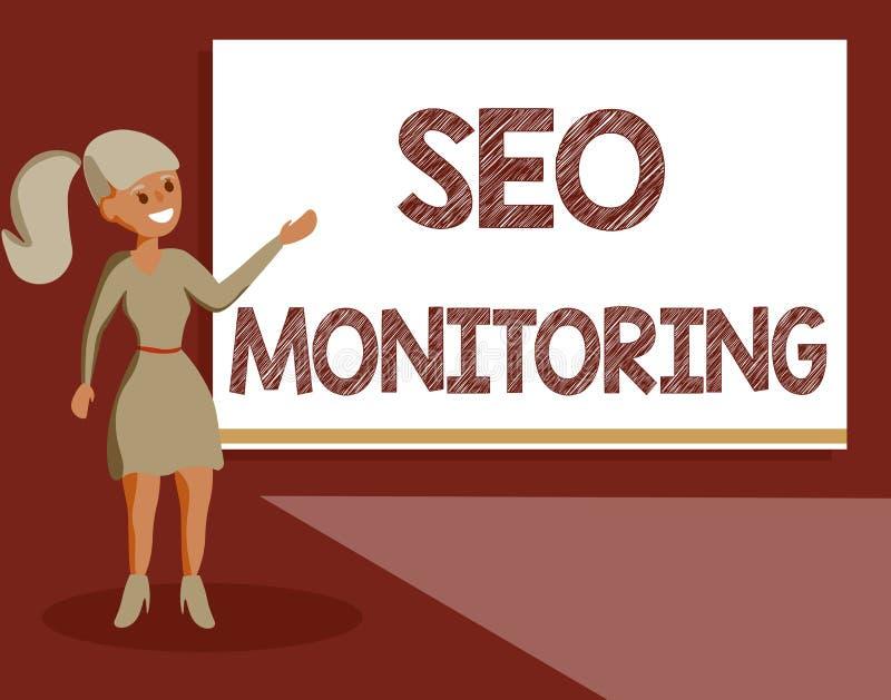Texto Seo Monitoring de la escritura Significado del concepto que sigue el progreso de la estrategia hecho en la plataforma ilustración del vector