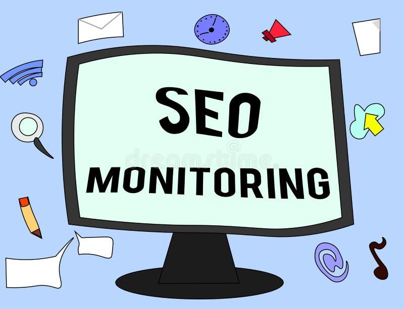 Texto Seo Monitoring de la escritura Significado del concepto que sigue el progreso de la estrategia hecho en la plataforma stock de ilustración