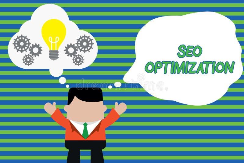 Texto Seo Optimization da escrita Processo do significado do conceito de afetar a visibilidade em linha da posição do Web site ou ilustração royalty free
