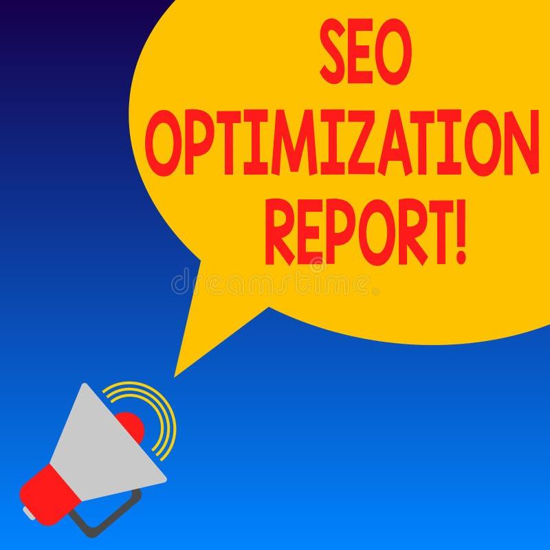 Texto Seo Optimization Report da escrita Vista geral do significado do conceito de um perforanalysisce do Web site no Search Engi ilustração stock