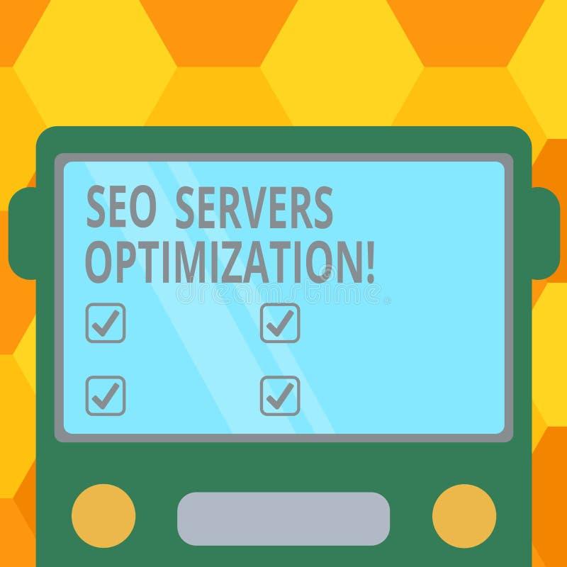 Texto Seo Servers Optimization da escrita Conceito que significa a rede de SEO que trabalha no máximo a parte dianteira lisa tira ilustração stock
