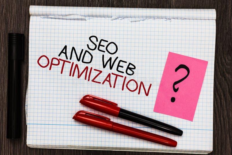 Texto Seo And Web Optimization da escrita da palavra O conceito do negócio para estratégias de marketing de Keywording do Search  foto de stock royalty free