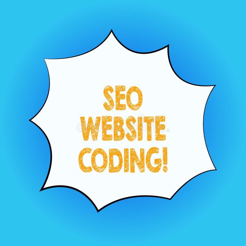 Texto Seo Website Coding da escrita O significado do conceito cria o local na maneira para fazê-la mais visível à cor da placa do ilustração stock